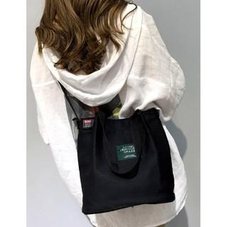 韓国ファッション【㊥ショルダートートバッグ】黒(エコバッグ)