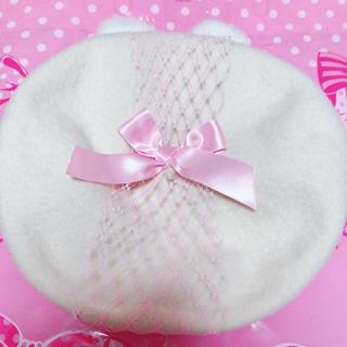 アンジェリックプリティー(Angelic Pretty)の猫耳ベレー帽(dolly cat)タグ付き(ハンチング/ベレー帽)
