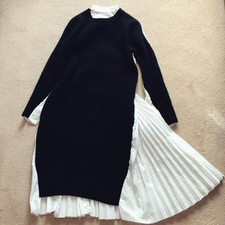 サカイ(sacai)のsacai  プリーツ ニット コンビ ワンピース ドレス シャツ ドッキング(ひざ丈ワンピース)