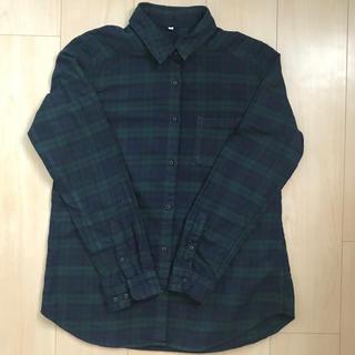 MUJI (無印良品) - 無印良品 オーガニックコットンフランネルチェックシャツ グリーン