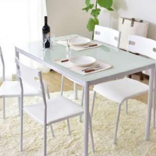 ガラス製 ダイニングテーブルセット ホワイト