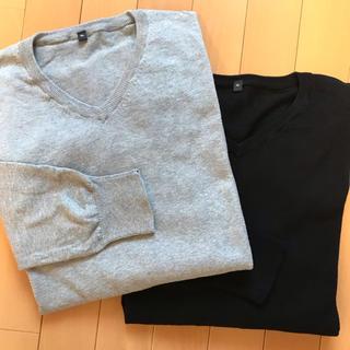 ムジルシリョウヒン(MUJI (無印良品))の2枚セット  シルク混  Vネック  ニット(ニット/セーター)