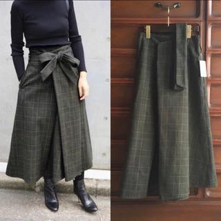 IENA - グレンチェックフレアスカート◆36