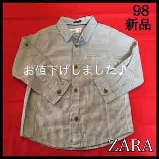 ザラ(ZARA)の【新品未使用】ZARA ザラ ストライプ ボタンシャツ 95 98 100 (ブラウス)