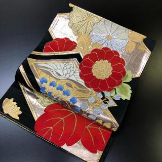 正絹。袋帯。黒地に花柄の帯(帯)