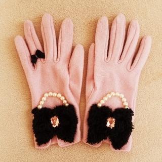 スイマー(SWIMMER)の#SWIMMER リボン付きグローブ ピンク(手袋)