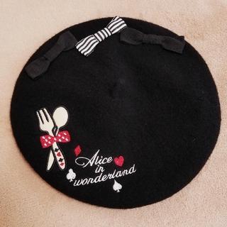 スイマー(SWIMMER)の#swimmer 不思議の国のアリス カトラリー刺繍 ベレー帽(ハンチング/ベレー帽)