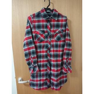 ジーユー(GU)のネルシャツ チェック シャツワンピース S(ひざ丈ワンピース)