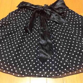 ♡* ドット 黒 リボン バルーン スカート ♡*(ひざ丈スカート)