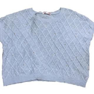 シマムラ(しまむら)の半袖 ニット ブルー パール付き(ニット/セーター)