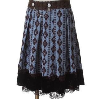 axes femme - アクシーズファム アナ雪コラボ アーガイルシルエットスカート  ブルー×ブラウン