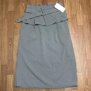 コルセットベルト付きチェックタイトスカート L(ひざ丈スカート)