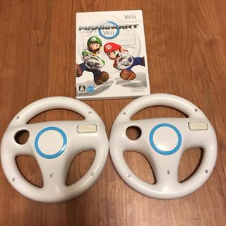 ウィー(Wii)のマリオカート wii  ハンドル二個セット(家庭用ゲームソフト)