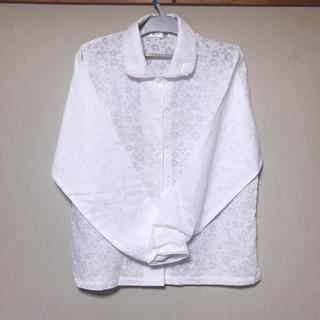 ZARA - 花柄  ブラウス ホワイト シャツ 長袖 薄手 キュート コンサバ 透け感