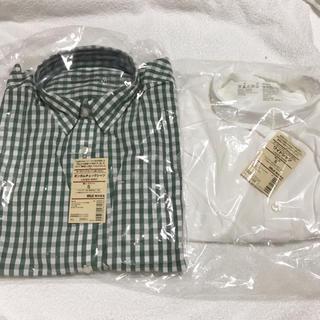 MUJI (無印良品) - 無印良品 ワイドシャツ ギンガムチェックシャツ オーガニック