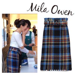 Mila Owen - 完売☆ベルト付き チェック スカート
