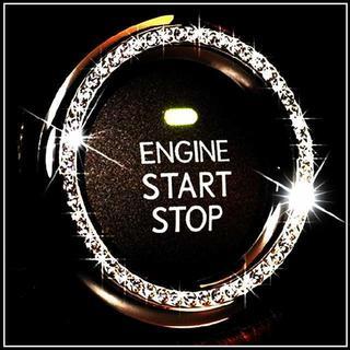 エンジン スタート シルバー 銀  ボタン シール リング 車 プッシュボタン(車内アクセサリ)