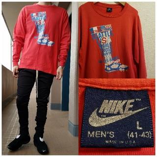 ナイキ(NIKE)のアメリカ製 90's 紺タグ NIKE クロスカントリープリント ロングスリーブ(Tシャツ/カットソー(七分/長袖))