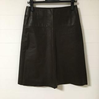 アニエスベー(agnes b.)のagnes b. 牛皮 レザースカート ダークモカブラウン マット 38サイズ(ひざ丈スカート)