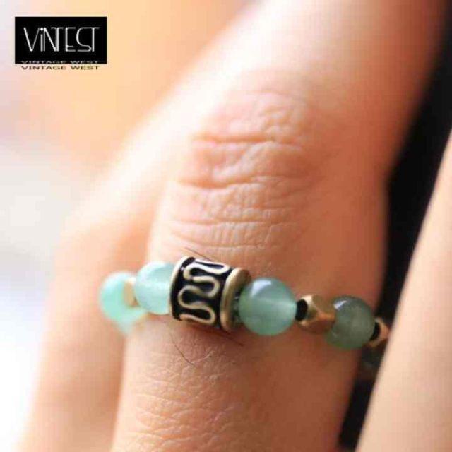 オルタII リング/指輪/アベンチュリン/グリーンxゴールド メンズのアクセサリー(リング(指輪))の商品写真