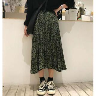 大流行 プリーツスカート レオパード柄 韓国 緑色 a(ロングスカート)
