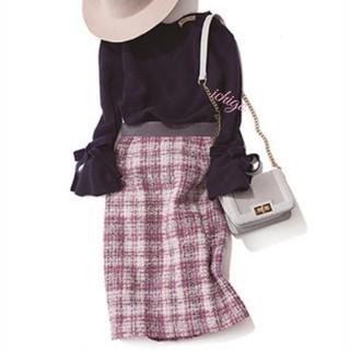 アプワイザーリッシェ(Apuweiser-riche)の美品アプワイザーモールチェックタイトスカート0(ひざ丈スカート)