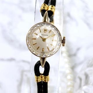 美品 ロレックス カットガラス 14K ベルト2種付 手巻き レディース 腕時計