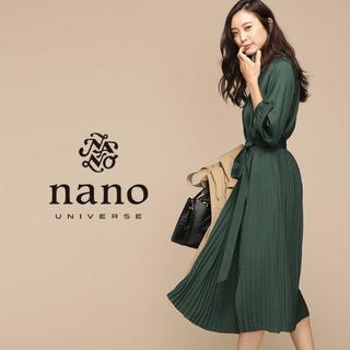 ナノユニバース(nano・universe)の新品 nano・universe ギャザースリーブプリーツワンピース【グリーン】(ロングワンピース/マキシワンピース)