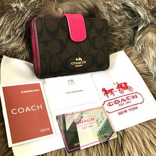 ★新品★コーチ COACH シグネチャー ダークブラウン×ピンク 二つ折り財布☆