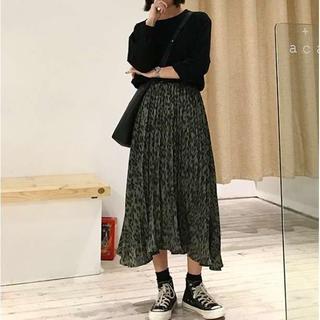 秋冬❤️ プリーツスカート レオパード柄 韓国 緑色 a(ひざ丈スカート)