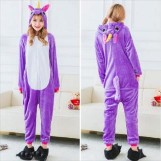 着ぐるみ 大人用 ユニコーン紫 パジャマ 動物 フリース アニマル プレゼント(ルームウェア)