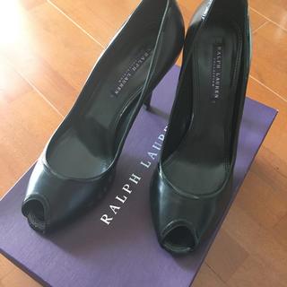 ラルフローレン(Ralph Lauren)のRalph Lauren 黒 ブラック 革ハイヒール オープントゥ(ハイヒール/パンプス)