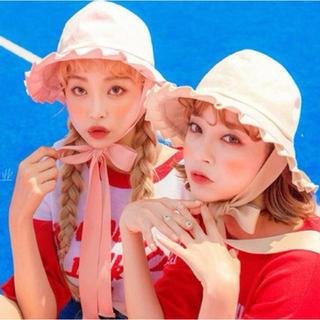 韓国 オルチャン  ピンク ハット フリル リボン 帽子 旅行 リゾート(ハット)