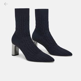 ザラ(ZARA)の[ZARA]ソックスブーツ ファブリックヒールショートブーツ/36(ブーツ)