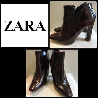 ザラ(ZARA)のZARA♡ワインブラウンレザー  ショートブーツ♡(ブーツ)