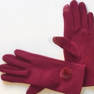 スリーコインズ(3COINS)のミンク付きスマホ対応手袋 新品·未使用 3COINS(RED)(手袋)