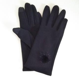 スリーコインズ(3COINS)の秋冬アイテム ミンク付きスマホ対応手袋 新品·未使用 3COINS(BLACK)(手袋)