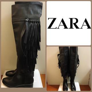 ザラ(ZARA)のZARA♡ブラックレザー  フリンジニーハイブーツ♡(ブーツ)