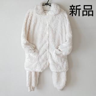 即購入OK★新品☆ふわふわ☆ボアフリース☆ルームウェア上下セット ホワイト