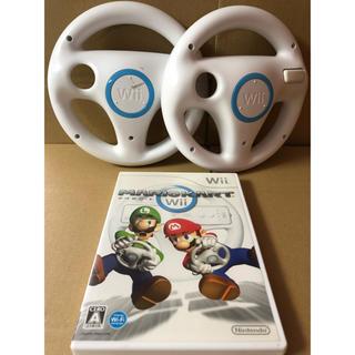 ウィー(Wii)のwii マリオカート ハンドル2個 セット(家庭用ゲームソフト)