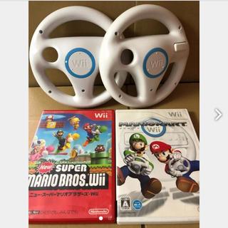 Wii - マリオカートWii ハンドル2個 ニュースーパーマリオブラザーズ セット