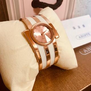 アビステ(ABISTE)の新品未使用【アビステ】ピンクゴールドバングルウォッチ☆時計★箱&袋付!電池交換済(腕時計)