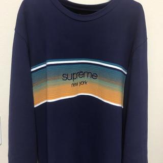 シュプリーム(Supreme)の【L】Shadow Stripe L/S Top ネイビー(Tシャツ/カットソー(七分/長袖))