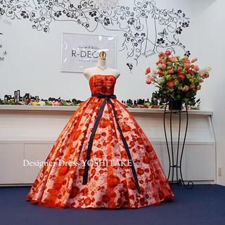 ウエディングドレス(パニエ無料サービス) 赤チュール&赤花柄 披露宴/二次会
