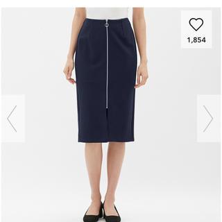 ジーユー(GU)の73 GU フロントジップタイトスカート 新品未使用 ネイビー(ひざ丈スカート)