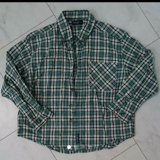 アクアブルー(Aqua blue)の130  アクアブルー チェックシャツ 緑(Tシャツ/カットソー)