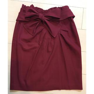 デュアルスレッド(Dual THREAD)のボルドーリボンスカート(ひざ丈スカート)