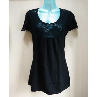 ユニクロ(UNIQLO)の美品 胸&袖 レース編み フレンチスリーブ 半袖ニット 透け感 黒 S ユニクロ(ニット/セーター)