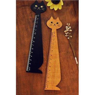 薄型 定規 かわいい 木製 猫型 黒 茶色セット 15cm
