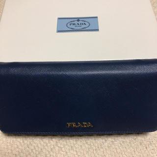 プラダ(PRADA)のPRADA サフィアーノ ネイビーバイカラー財布(財布)